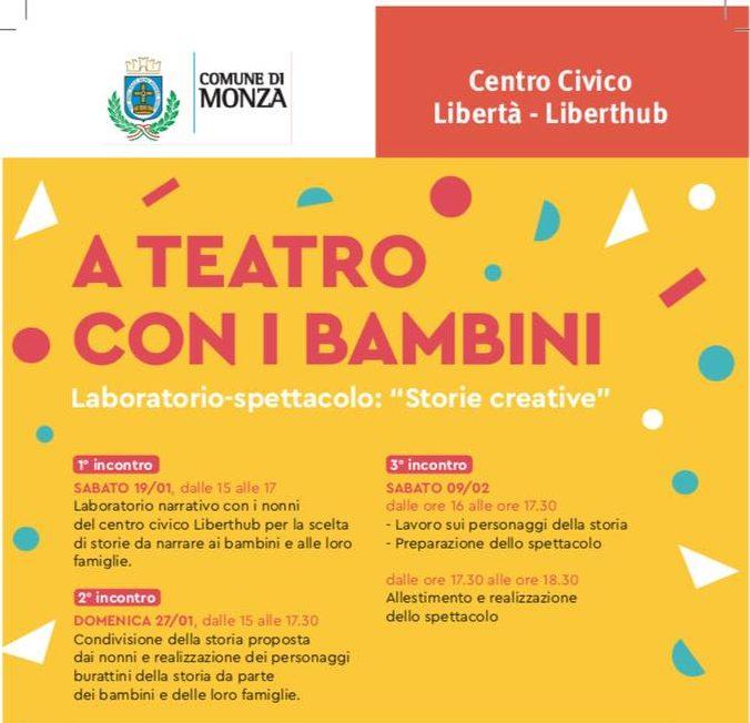 """A teatro con i bambini: laboratorio-spettacolo """"Storie creative"""" dal 19 gennaio"""