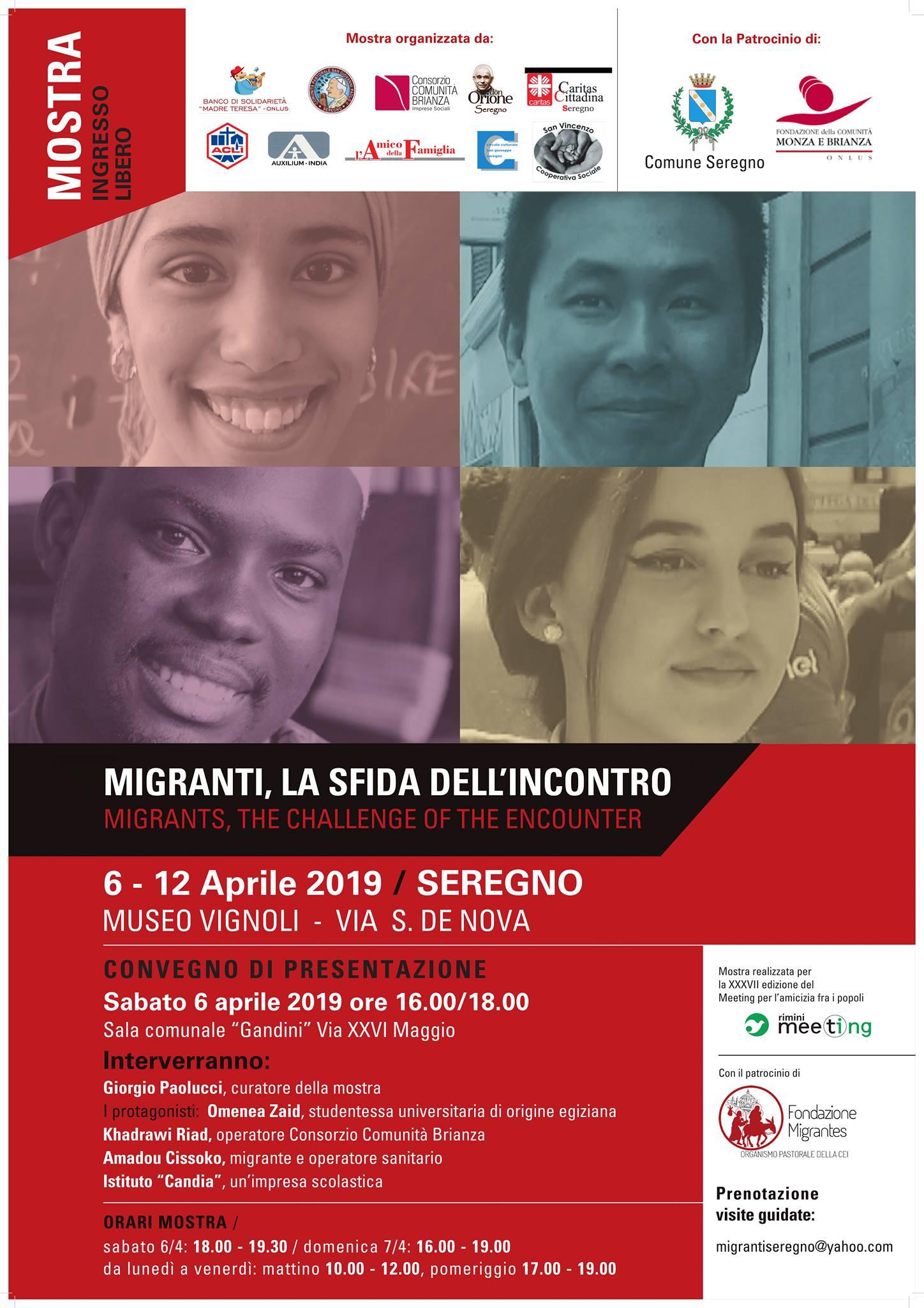 """Dal 6 al 12 aprile la mostra """"Migranti, la sfida dell'incontro"""" a Seregno"""