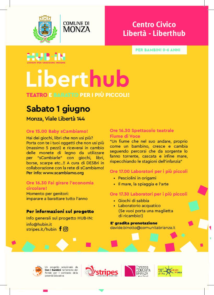 Sabato 1 giugno: giornata dedicata ai BAMBINI 0-6 anni al centro LibertHub